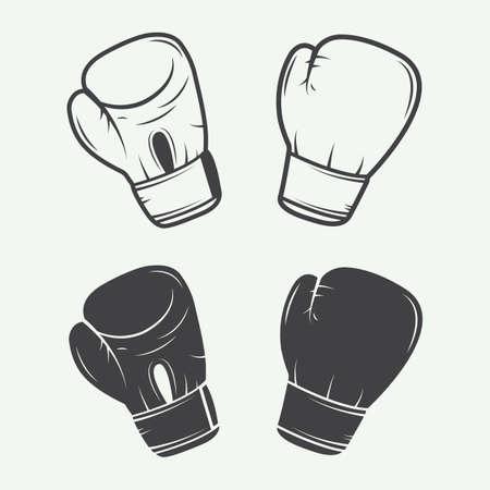 guantes de boxeo: Guantes de boxeo en la ilustración de estilo vintage Vectores