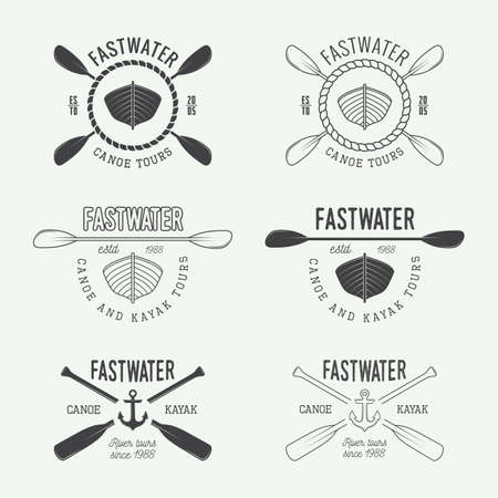 kayak: Set of vintage rafting, labels and badges