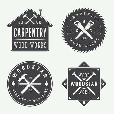 herramientas de carpinteria: Conjunto de la carpintería de la vendimia y las etiquetas mecánico, emblemas Vectores