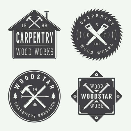 carpentry: Set of vintage carpentry and mechanic labels, emblems