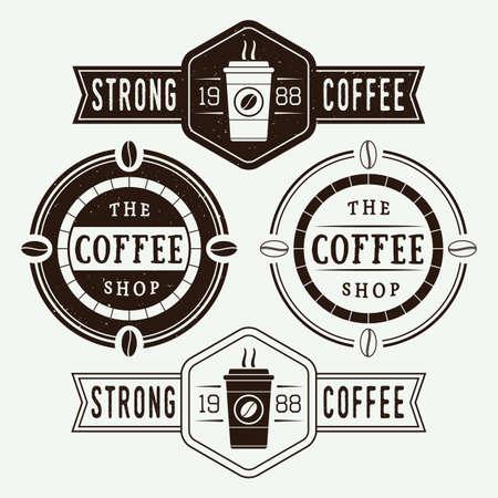 table set: Set of vintage coffee labels and emblems Illustration