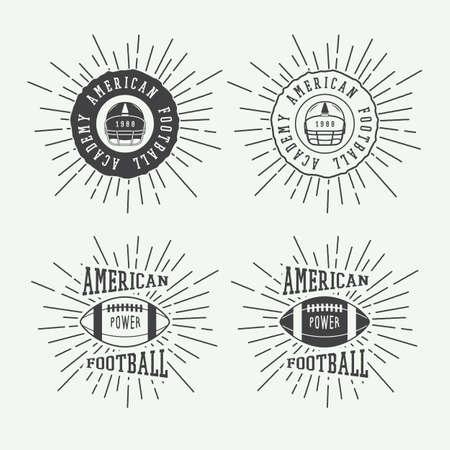 brave of sport: Set of vintage rugby and american football labels, emblems illustration Illustration