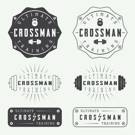 barbell: Set of gym labels, badges and elements in vintage style