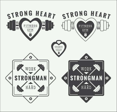 powerlifting: Set of vintage gym labels and emblems Illustration