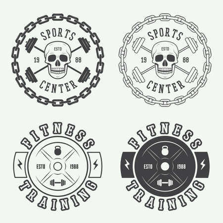 powerlifting: Set of gym labels and badges in vintage style Illustration