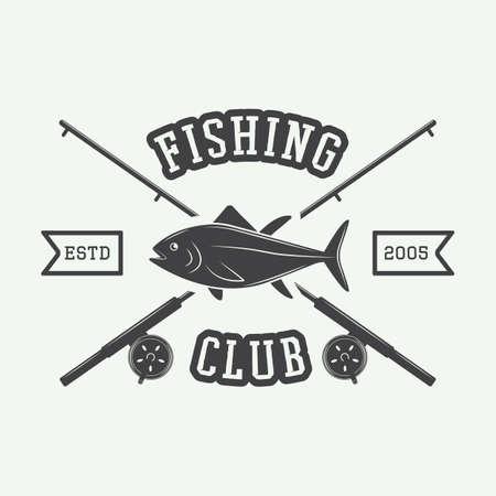 bateau de pêche: Étiquette vintage de pêche, journal, badge. Vector illustration