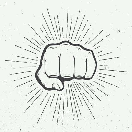 Fist avec sunbursts dans le style vintage. Vector illustration Vecteurs