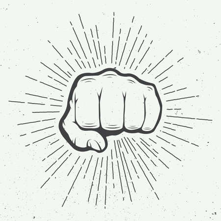 Fist with sunbursts in vintage style. Vector illustration