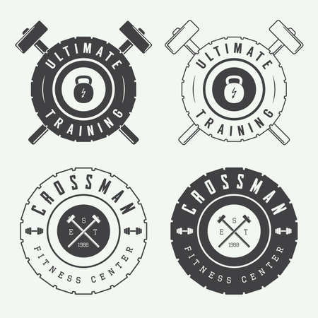 gym equipment: Set of gym logos, labels and slogans in vintage style