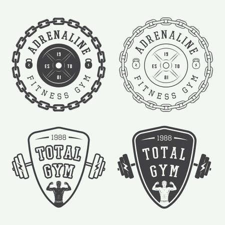 salud y deporte: Conjunto de insignias gimnasio vector, etiquetas e insignias de estilo vintage