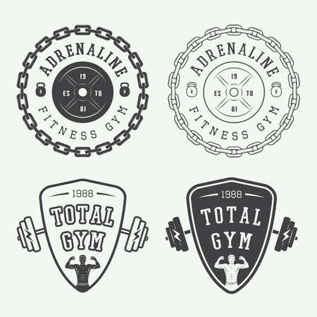 fitness workout: Set of gym vector logos, labels and badges in vintage style