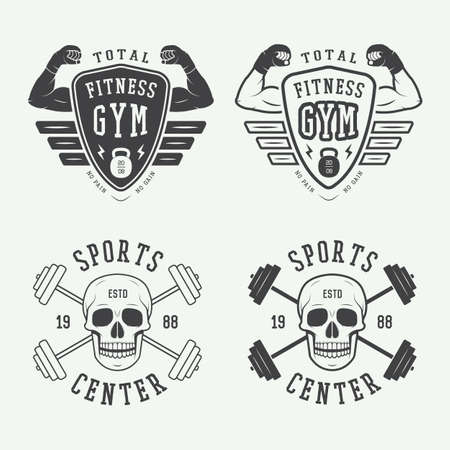 bodybuilding: Set of gym logos, labels and badges in vintage style