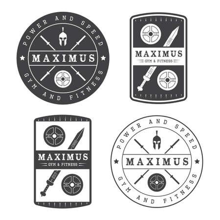 saludable logo: Conjunto de logotipo de gimnasio en el estilo vintage