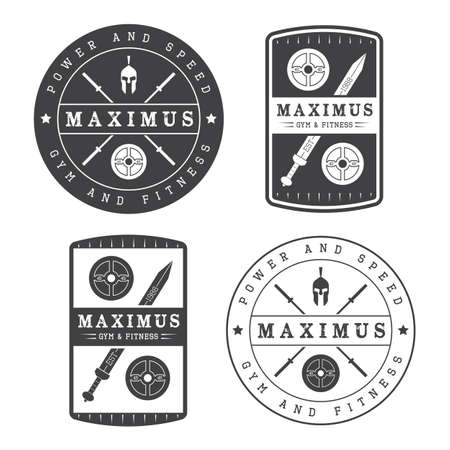 sport logo: Set of gym logo in vintage style