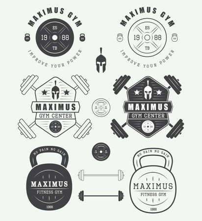 gimnasio: Conjunto de insignias gimnasio, etiquetas, escudos y elementos de estilo vintage