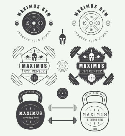 barbell: Set of gym logos, labels, badges and elements in vintage style Illustration