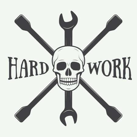 mechanic: Vintage vector mechanic logo label with skull, wrench. Vector illustration