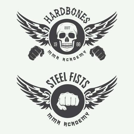 martial art: Set of vintage mixed martial arts logo, badges and emblems. Vector illustration