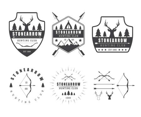 wildlife shooting: Set of vintage hunting labels, logo, badges and design elements