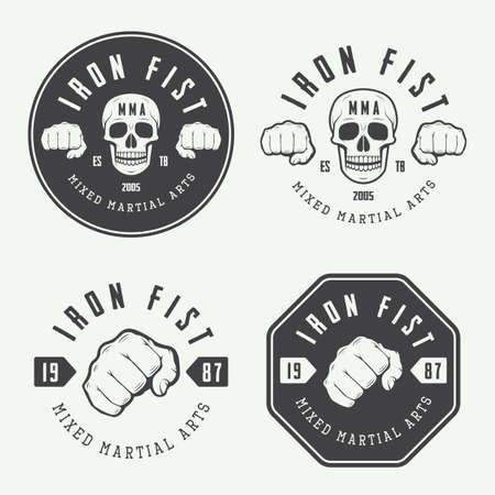 混合: ビンテージの混合された武道のロゴ、バッジ、エンブレムのセットです。ベクトル図