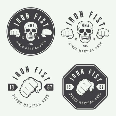 fight: Set of vintage mixed martial arts logo, badges and emblems. Vector illustration