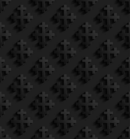 rood: Black seamless pattern with crosses. Vector illustration