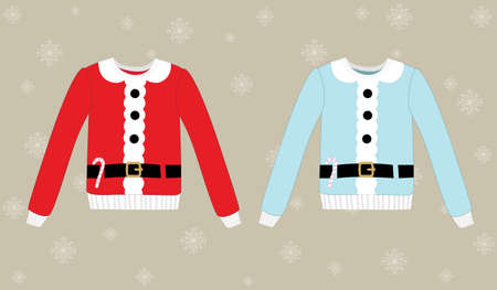 festal: Christmas sweater on background with snowflakes, eps 10