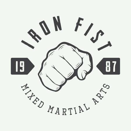 puños cerrados: Vintage logotipo de artes marciales mixtas, insignia o emblema. Ilustración vectorial