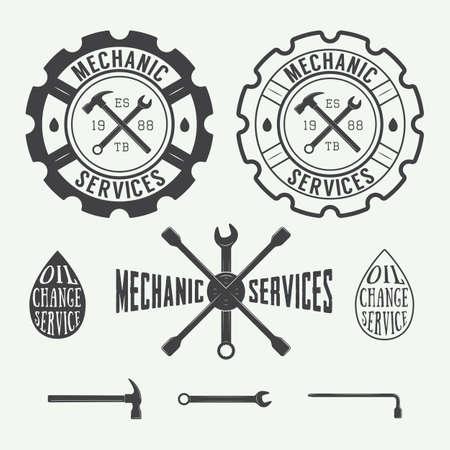 mechanic: Conjunto de la carpintería de la vendimia y las etiquetas mecánico, emblemas y logotipo