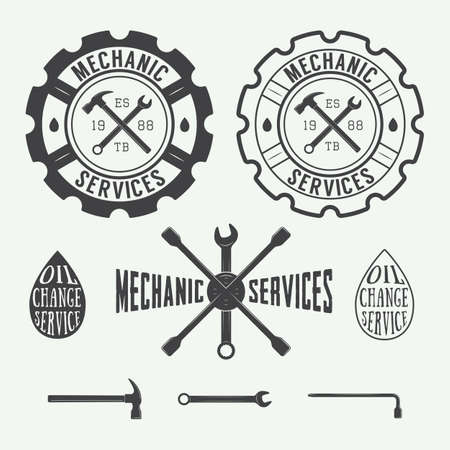 fix gear: Set of vintage carpentry and mechanic labels, emblems and logo