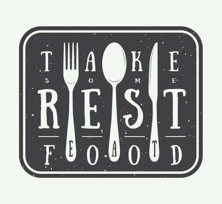 eslogan: Vintage insignia restaurante insignia con elementos lema y dise�o