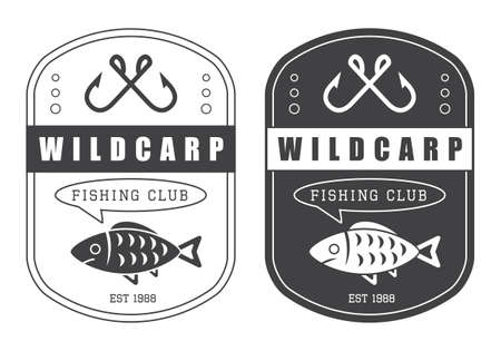 fly fisherman: Set of vintage hunting and fishing vector logo