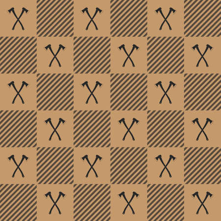 axes: Lumberjack vector plaid pattern with axes