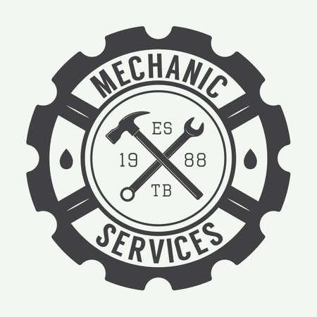 ビンテージ メカニック ラベル、エンブレム、ロゴ。ベクトル図 写真素材 - 44125124