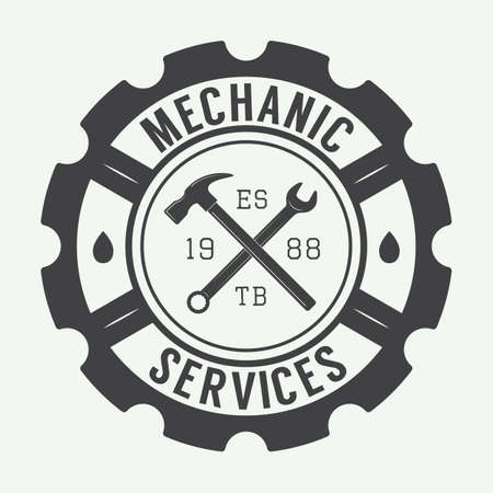 Vintage mechanic label, emblem and logo. Vector illustration Фото со стока - 44125124