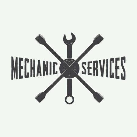 garage mechanic: Vintage mechanic label, emblem and logo. Vector illustration