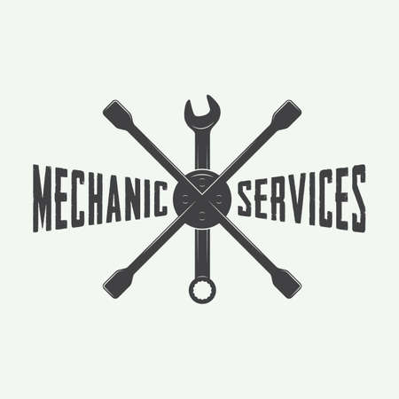 automotive industry: Vintage mechanic label, emblem and logo. Vector illustration