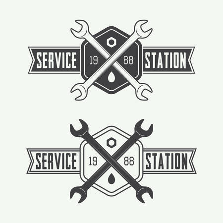 set design: Vintage mechanic label, emblem and logo. Vector illustration