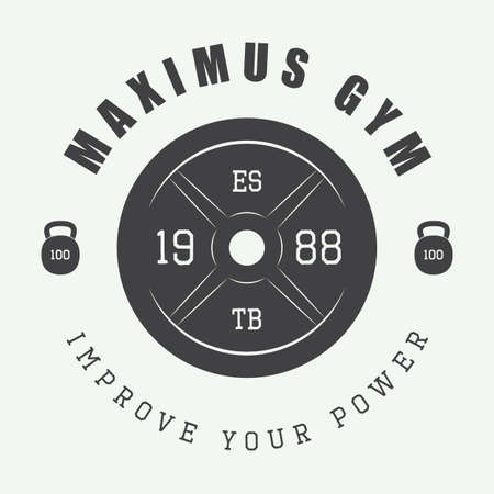 strength training: Gym logo in vintage style. Vector illustration.