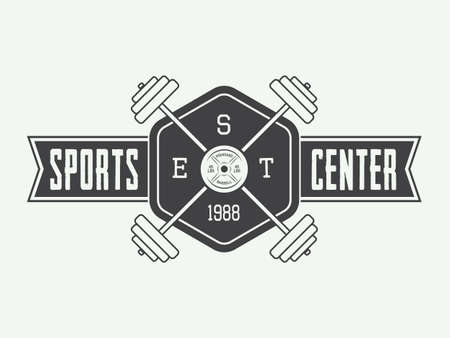 Gym logo in vintage style. Vector illustration Illustration