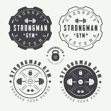 deportista: Conjunto de insignias de gimnasio, etiquetas y eslóganes de estilo vintage Vectores