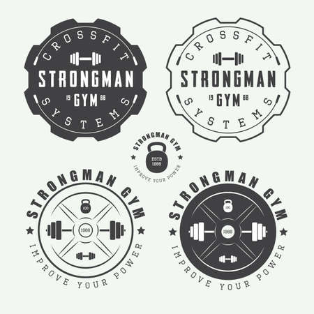 workout gym: Set of gym logos, labels and slogans in vintage style