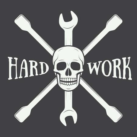 Vintage vector mechanic logo label with skull, wrench. Vector illustration