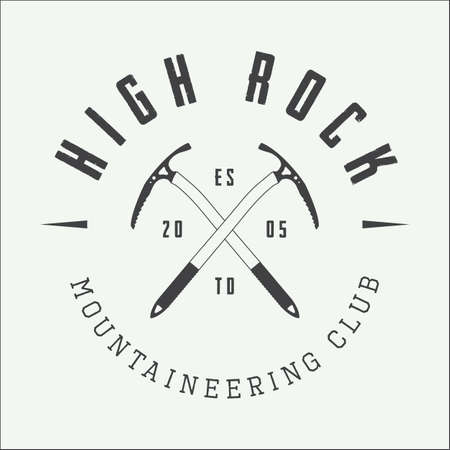 mountaineering: Vintage mountaineering logo, badge or emblem. Vector illustration