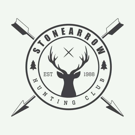 archery: Hunting logo in vintage style. Vector illustration. Illustration