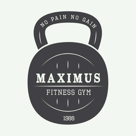 bodybuilding: Gym vector logo in black and white Illustration