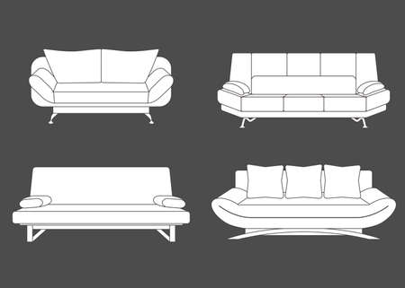 divan sofa: Set of couches and sofas. Vector illustration