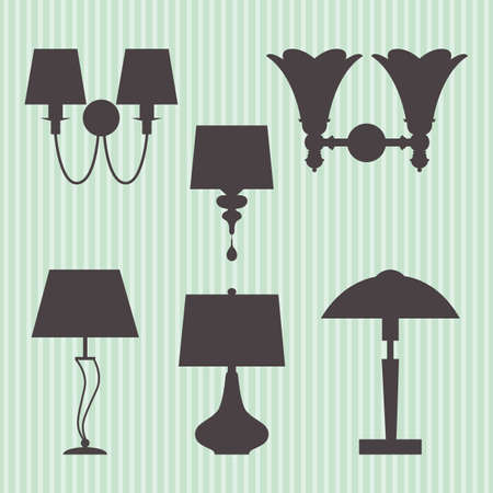 Set of vector silhouettes lamp and sconce, eps 10 Çizim