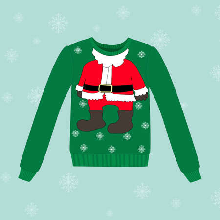 santa costume: Christmas sweater on blue vector background with snowflakes Illustration