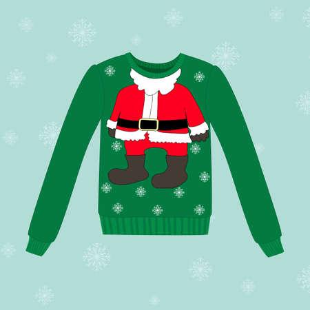 weihnachtsmann lustig: Weihnachtsstrickjacke auf blau Vektor-Hintergrund mit Schneeflocken Illustration